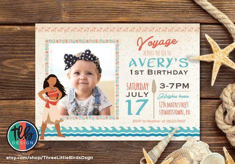 Moana Birthday Invitation Invite Girl 1st Party Inspired Hawaiian Photo