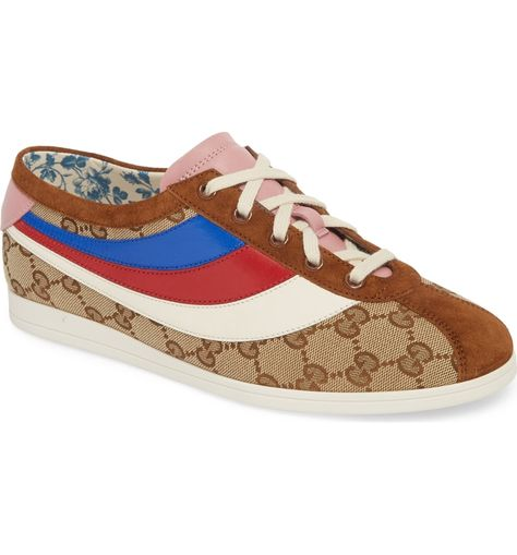 472f03eb828 Free shipping and returns on Gucci Falacer Lace-Up Sneaker (Women) at  Nordstrom.com. Original GG canvas gleams on sneakers featuring a tricolor  leather ...