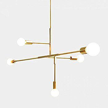 Yoka Modern Metal Pendant Lighting Hanging Lamp Ceiling Chandelier With 5 Lights Gold Finish Fixture Flush Modern Lighting Chandeliers Metal Lighting