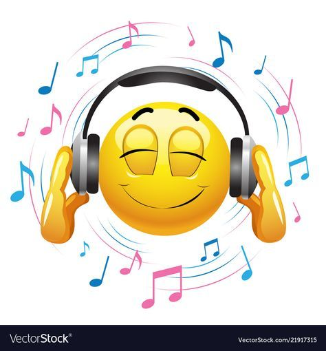 Smiley emoticon listening to music smiley hold Vector Image