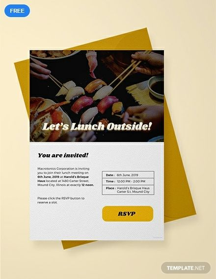 Free Email Lunch Invitation | Lunch Invitation template