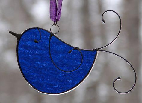 Stained Glass Little Bluebird Sun Catcher