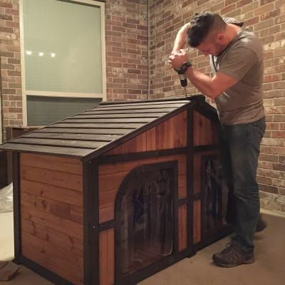 Boomer George Duplex Dog House With Options Free Doors Hayneedle Dog House Cool Dog Houses Outdoor Dog House