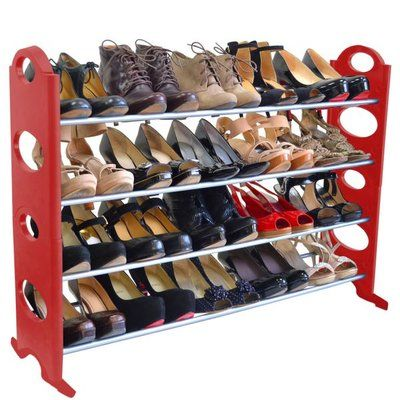 Rebrilliant 4 Tier 20 Pair Stackable Shoe Rack Finish Red