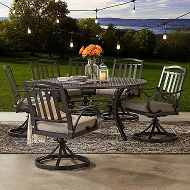 Member S Mark Harbor Hill 7 Piece Round Cushioned Dining Set Outdoor Dining Set Patio Outdoor