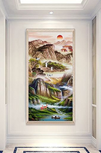 Chinese Style Beautiful Oil Painting Landscape Painting Deer White Crane Porch Decorative Pa Oil Painting Landscape Beautiful Oil Paintings Landscape Paintings