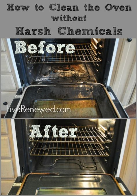 An easy way to clean your oven! How to clean the oven without harsh chemical cleaners at LiveRenewed.com.