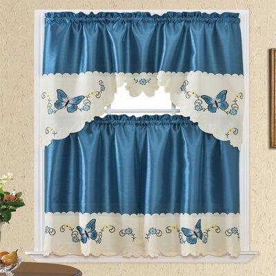 Rosalind Wheeler Etzel Swag 60 Kitchen Curtain Color Blue Ivory Gold In 2021 Kitchen Curtains Curtains Colorful Curtains