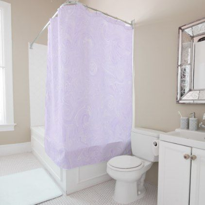 Lila Time Lilac Pale Purple White Marble Pattern Shower Curtain