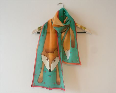 Hand painted silk satin scarf green orange red colors by SilkHome, $65.00