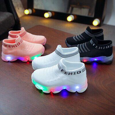 Children Baby Girls Boys Breathable Mesh Led Luminous Sport Run Sneakers Shoes