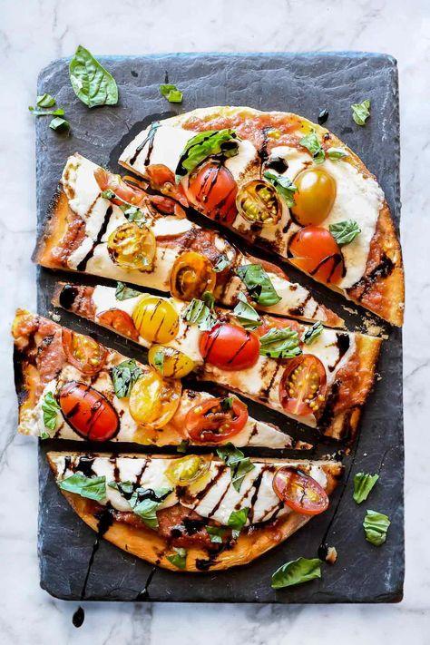 Mozzarella and Tomato Caprese Flatbread | foodiecrush.com #flatbread #pizza #tomato #mozzarella #appetizer #recipes #dinner #appetizerrecipes