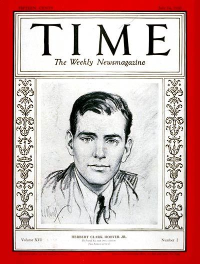 TIME Magazine Cover: Herbert Hoover Jr. -- July 14, 1930
