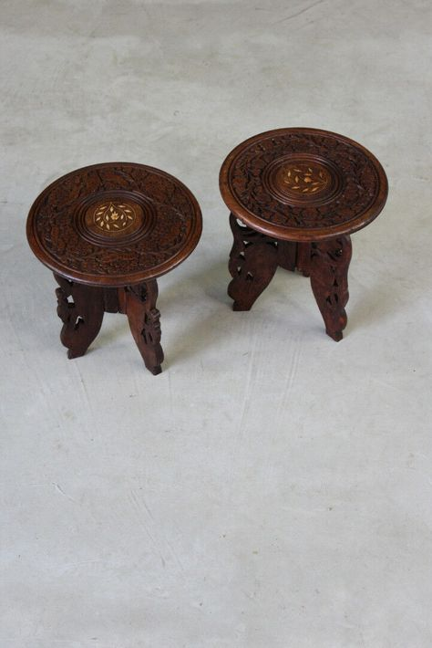 Pair Small Eastern Indian Side End Bedside Tables Table Indian