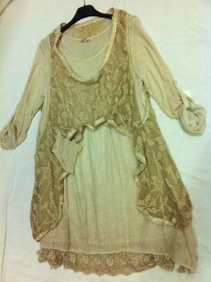 Gorgeous Lagenlook 2 pce lace like hem line,,tunic/dress,,,,Last one,,,,,,   eBay by Eva