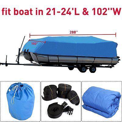 "21/' 22/' 23/' 24/' Boat Cover Waterproof Trailerable Heavy Duty Pontoon Beam 102/"""