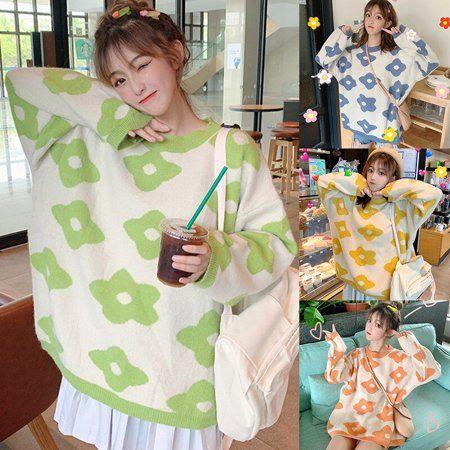 Xinhuaya - Women Korean Style Floral Pattern Knitted Pullover Sweater Kawaii Gril Autumn Warm Clothes Knitwear Jumpers - Walmart.com