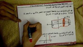 20 Volumes Using Cross Sections Disk Method Http Ift Tt 2dyeol6 دورة تكامل Ibrahem Okkeh شرح التكامل كورس التكامل كورس Calc Calculus Cross Section Method