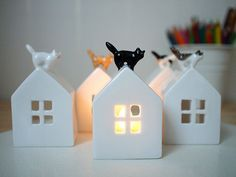 Cat on the roof. Ceramic Candle Holder  It made porcelain. Hand painted. Twice fired glazed(clear glossy & matte glazed).  I draw freehand every piece,