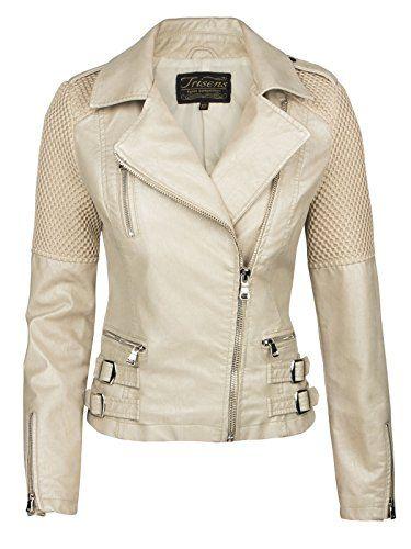 148defdb5 Trisens Veste courte biker pour femme veste de moto en cuir ...
