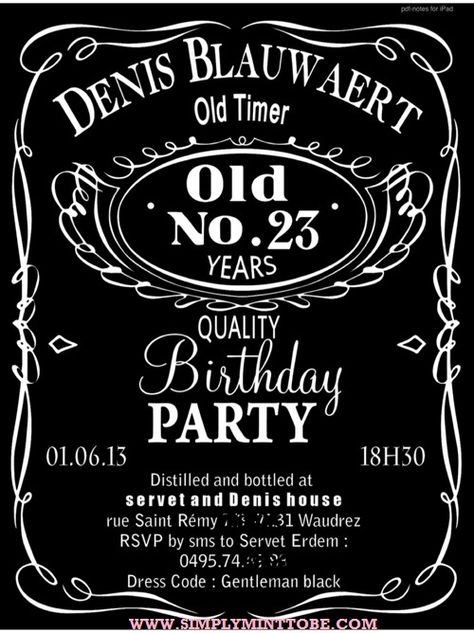 DIY Jack Daniels Inspired Birthday Invitation 4x6 personalized to your specifications