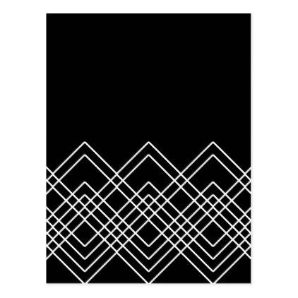 Abstract Geometric Pattern  Black And White Postcard  Holiday