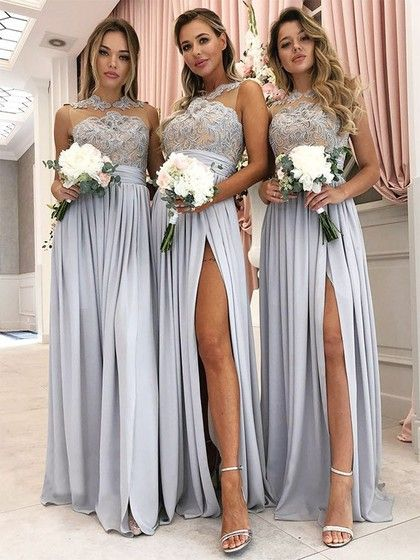 Vintage Lace Appliqued Silver Bridesmaid Dresses with Thigh Split Bridesmaid Dresses, Silver Bridesmaid Dresses, Bridesmaid Dresses Vintage, Bridesmaid Dresses Lace Bridesmaid Dresses 2018
