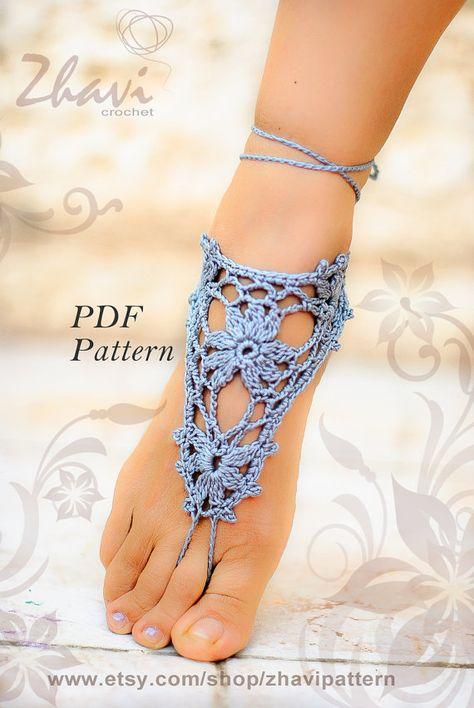 PDF CROCHET Gray Barefoot sandals PATTERN #1 | Pinterest | Pies ...