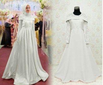 Gaun Pesta Muslimah Elegan Sabrina Maxy Putih Gaun Pesta Muslimah