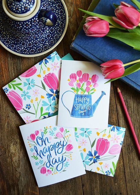Set of four Spring Notecards Oh Happy Day Happy by penandpaint