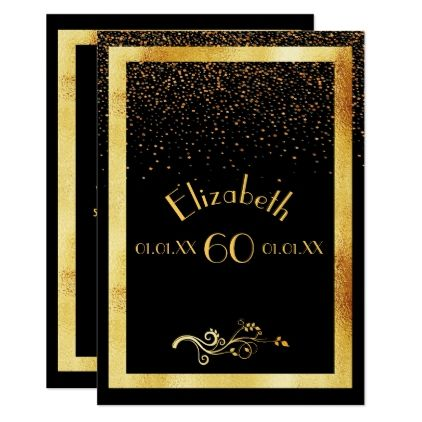 60th Birthday Party Invitation Card Black And Gold Zazzle