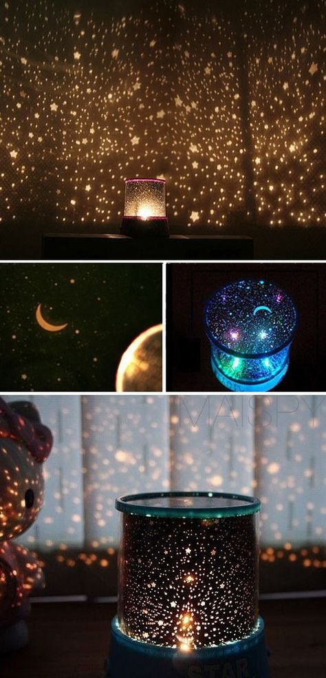 Star Projector Lamp Starry Sky Night Light AA DC Powered