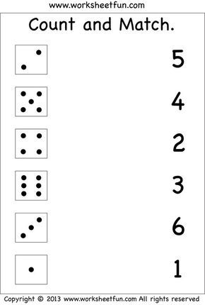 Numbers Count And Match Free Printable Worksheets Worksheetfun Free Kindergarten Worksheets Kindergarten Math Worksheets Numbers Preschool Free printable worksheet for kindergarten