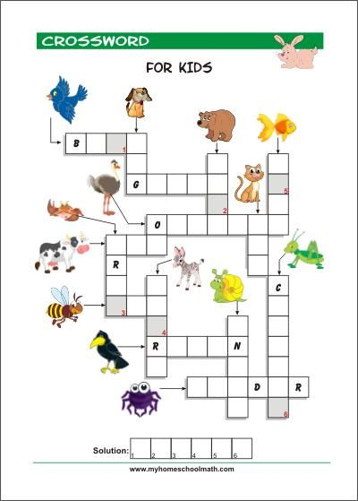 Free Printable Crossword Puzzles For Kids With Pictures Free Printable Crossword  Puzzles, Printable Crossword Puzzles, Crossword Puzzles