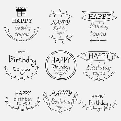 Hand Drawn Happy Birthday Typographic Set, Happy Birthday Clipart, Logo Clipart, Frame Clipart, Vector Files, Digital Download Clipart