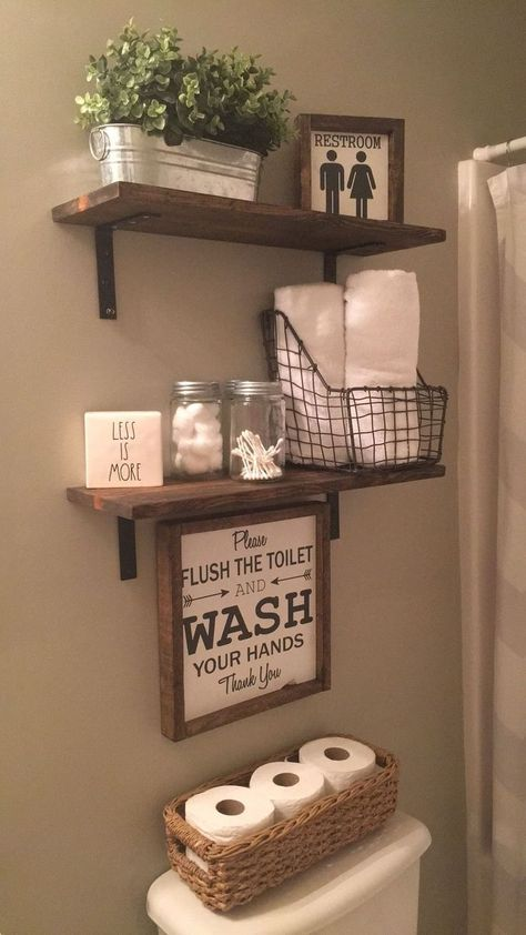 home organization ideas clutter * home organization ; home organization ideas ; home organization declutter ; home organization hacks ; home organization ideas clutter ; home organization ideas bedroom ; home organization diy ; home organization ideas diy Small Bathroom Furniture, Small Bathroom Storage, Storage Spaces, Rustic Bathroom Shelves, Storage Organization, Farmhouse Decor Bathroom, Diy Storage, Farm House Bathroom Decor, Organizing Ideas