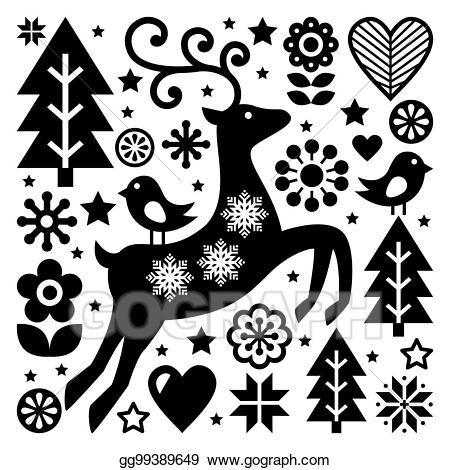 Https Comps Gograph Com Christmas Black And White Folk Vector Pattern Scandinavian Folk Art Reindeer Birds And Flowers Decoration Or Greeting Card Gg99389649