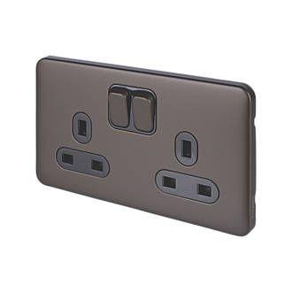 Schneider Electric Lisse Deco 13a 2 Gang Sp Switched Plug Socket Mocha Bronze With Black Inserts Plug Socket Sockets Light Switches And Sockets
