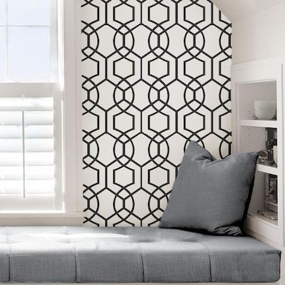 Scott Living 30 75 Sq Ft Charcoal Vinyl Geometric Self Adhesive Peel And Stick Wallpaper Lowes Com Peel And Stick Wallpaper Charcoal Wallpaper Modern Pattern Geometric