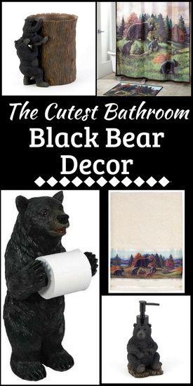 Super Cute Black Bear Bathroom Decor