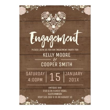 Wood Rustic Floral Heart Engagement Invitation