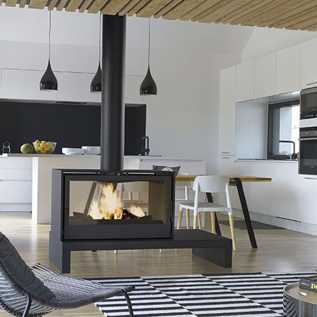 Wood Heating Stove Contemporary Central Double Sided Freestanding Fireplace Home Fireplace Fireplace Design