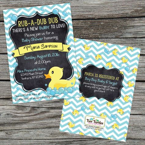 These adorable rubber ducky themed invitations are the perfect way to celebrate the pending arrival of new little one.  This listing is for a printable 5x7 invitation formatted for printing 2 to a page at home or at the printer of your choosing. You will receive a printable .pdf file for the front, and a file for the back with instructions on how to print and cut them correctly.  Matching accessories such as wrap-around address labels, envelope seals and thank you notes are available as…