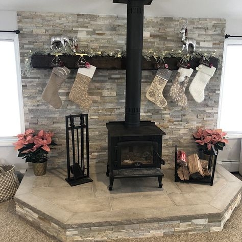 Most up-to-date No Cost floating Fireplace Mantels Concepts Fireplace Mantle Farmhouse Mantel Rustic Modern Mantle Wood Stove Decor, Wood Stove Wall, Wood Burning Stove Corner, Wood Stove Surround, Wood Stove Hearth, Corner Stove, Modern Mantle, Rustic Mantle, Farmhouse Mantel