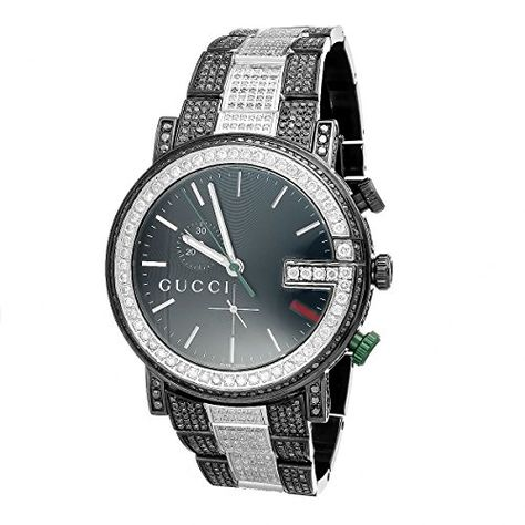 4ae91bb33ae Mens-Custom-Black-PVD-Full-Diamond-101-G-Real-45-MM-Gucci-Ya101331-Watch -14-Ct-0
