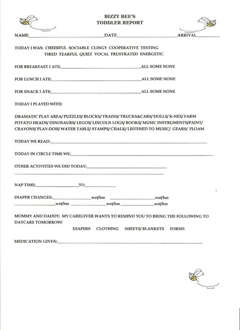 accident-report sheet For use In An In-Home Daycare Visit http - incident report forms