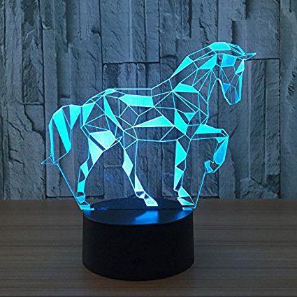 Neuheit 3d Puzzle Pferd Illusion Lampe 7 Farbe Touch Schalter Led Nachtlichter 150 Cm Usb Mit Bildern Kinder Beleuchtung Lampe Kinderzimmer Madchen Nachtleuchte