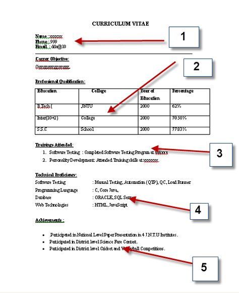 CV Format Sample 01 cv Pinterest Cv format, Cv format sample - bca resume format for freshers