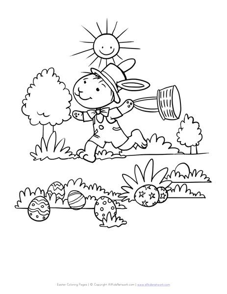 Easter Bunny Hiding Eggs Coloring Page All Kids Network Coloring Eggs Easter Bunny Egg Coloring Page