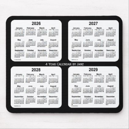 2026 2029 Black And White 4 Year Calendar By Janz Mouse Pad